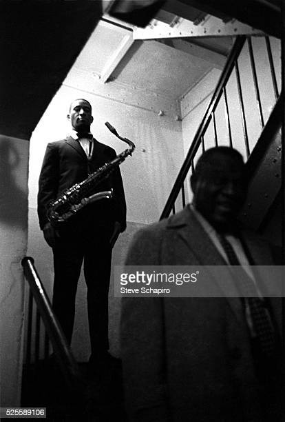 Saxophonist Sonny Rollins backstage at the Apollo Theater in New York City