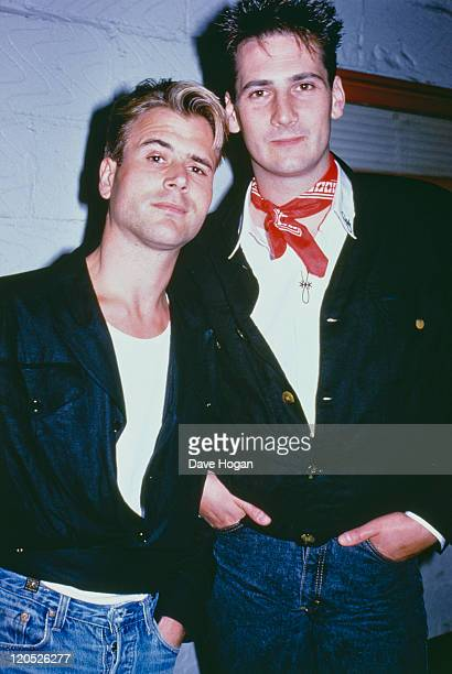 Saxophonist Steve Norman and singer Tony Hadley of English pop group Spandau Ballet backstage at the Nelson Mandela 70th Birthday Tribute concert...