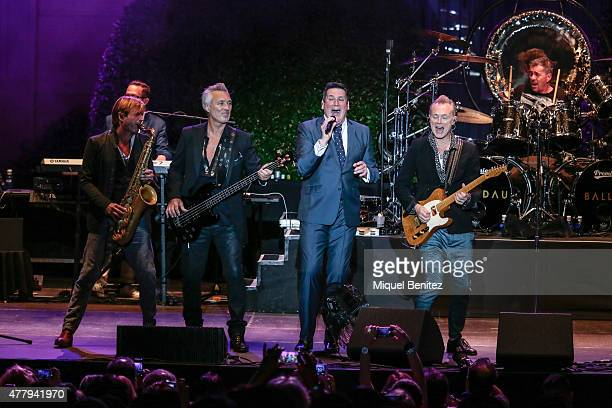 Saxophonist Steve Norman Bass Player Martin Kemp Singer Tony Hadley and Guitarrist Gary Kemp of the British band Spandau Ballet perform 'Soul Boys of...