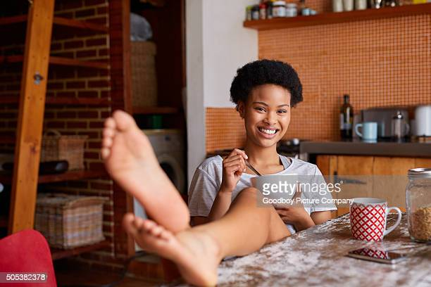 say good morning to your body, eat breakfast - womans bare feet stock photos and pictures