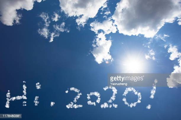 say hi to new year ,2020 - 2020 calendar stock photos and pictures