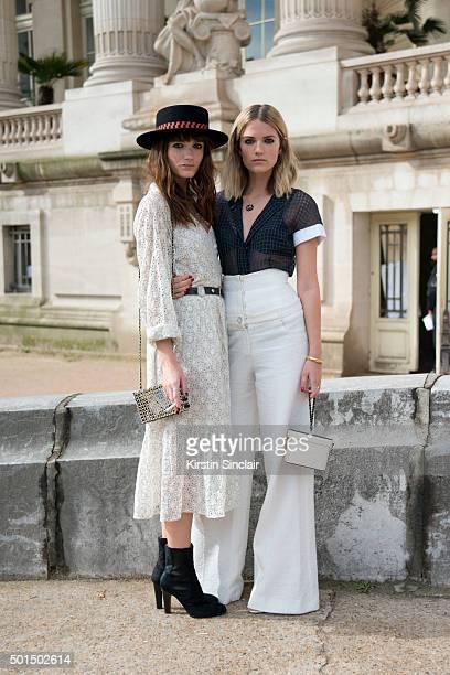Say Lou Lou Musicians Miranda Anna Kilbey and Elektra June KilbeyJansson wear all Chanel on day 8 during Paris Fashion Week Spring/Summer 2016/17 on...