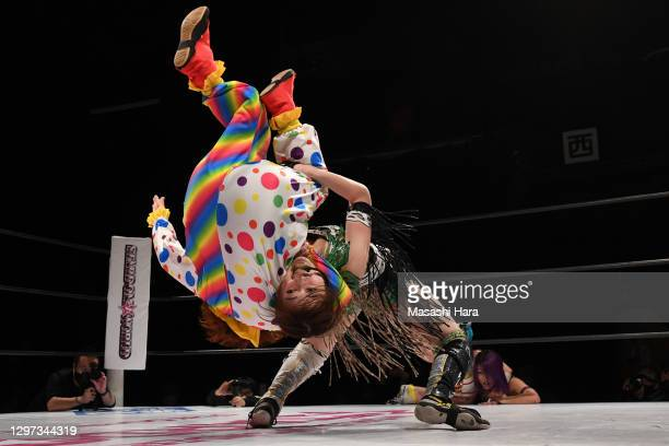 Saya Kamitani and Gokigen Death compete during the Women's Pro-Wrestling 'Stardom' at the Shinkiba 1st Ring on January 03, 2021 in Tokyo, Japan.