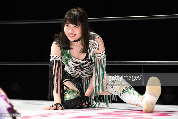 Saya Kamitani looks on during the Women's Pro-Wrestling 'Stardom' at the Shinkiba 1st Ring on July 11, 2020 in Tokyo, Japan.