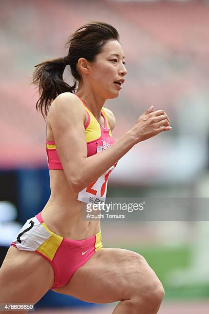 Sayaka Aoki of Japan competes in the Women's 400 metres qualification during the 99th Japan Athletics National Championships at Denka Big Swan...
