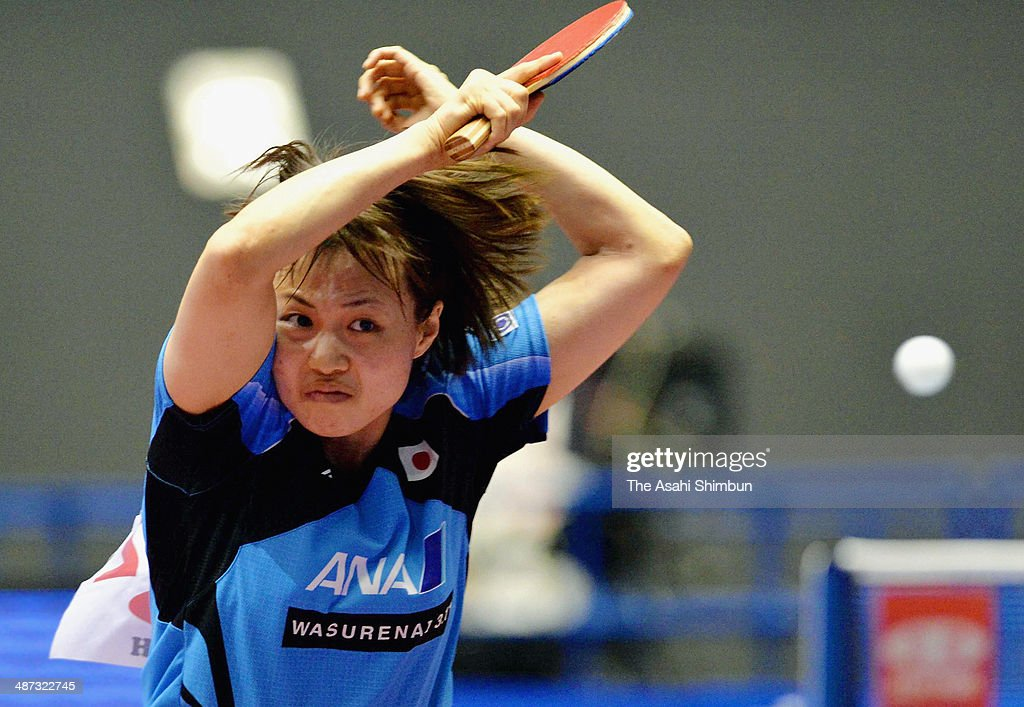 Sayaka Hirano of Japan competes in the game against Dora Madarasz of Hungary during day two of the 2014 World Team Table Tennis Championships at Yoyogi National Gymnasium on April 29, 2014 in Tokyo, Japan.