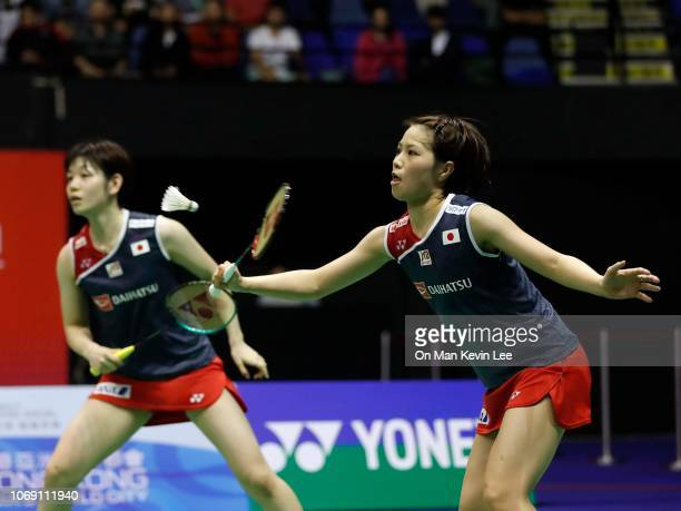 Sayaka Hirota and Yuki Fukushima of Japan in action against Lee So Hee and Shin Seung Chan of Korea at the final of Women's Double of Yonex Sunrise...