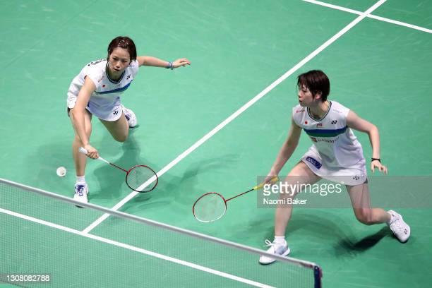 Sayaka Hirota and Yuki Fukushima of Japan return a shot during their Women's Doubles Semifinal match against Cheryl Seinen and Selena Piek of the...