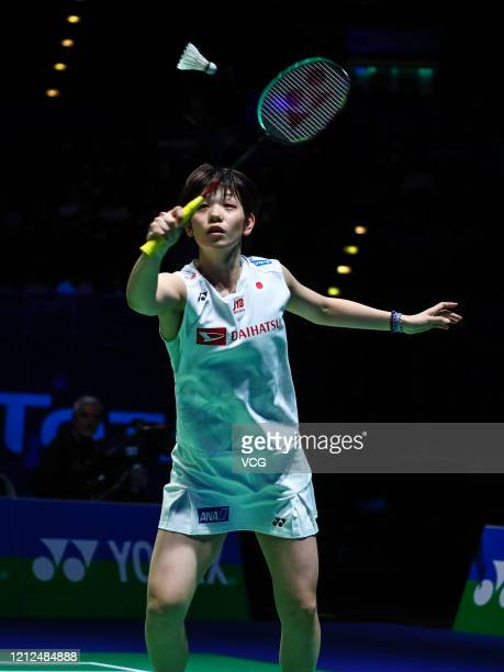 Sayaka Hirota of Japan competes in the Women's Doubles semi-final match against Misaki Matsutomo and Ayaka Takahashi of Japan on day four of Yonex...