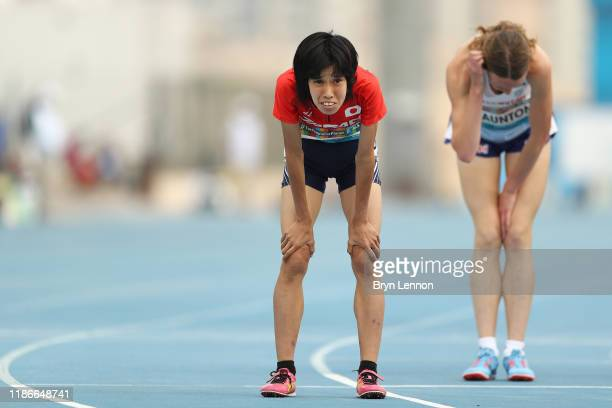 Sayaka Makita of Japan recovers after the Women's 1500m T20 final on Day Four of the IPC World Para Athletics Championships 2019 Dubai on November...