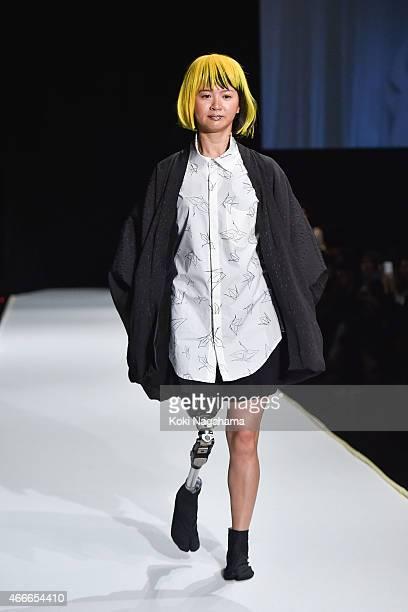 Sayaka Murakami showcases designs on the runway during the tenbo show as part of Mercedes Benz Fashion Week TOKYO 2015 A/W at Shibuya Hikarie on...