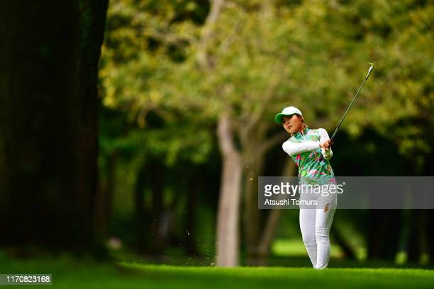 Sayaka Takahashi of Japan hits her second shot on the 18th hole during the first round of the Nitori Ladies at Otaru Country Club on August 29, 2019...