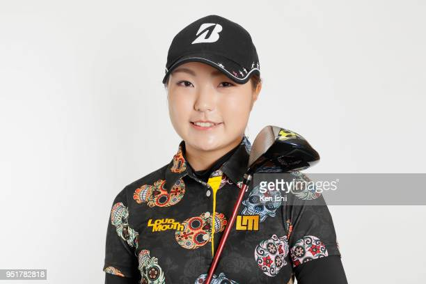 Sayaka Takahashi poses for photographs during the Japanese LPGA portrait session on February 26 2018 in Nanjo Okinawa Japan