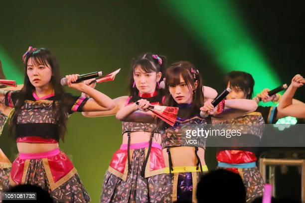 Sayaka Yamamoto of Japanese idol girl group NMB48 performs onstage during the 'NMB48 Asia Tour 2018' at the Bandai Namco Shanghai Base on October 7...