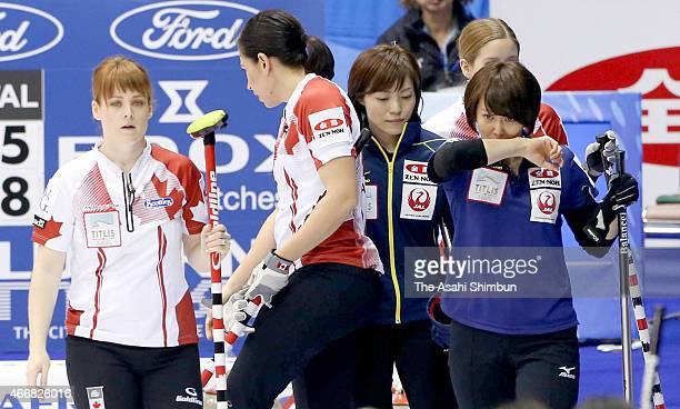 Sayaka Yoshimura of Japan reacts after her team's defeat in a roundrobin match between Japan and Canada during day six of the World Women's Curling...