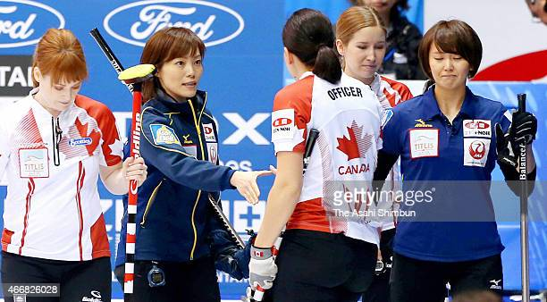 Sayaka Yoshimura of Japan reacts after her team's defeat in a round-robin match between Japan and Canada during day six of the World Women's Curling...