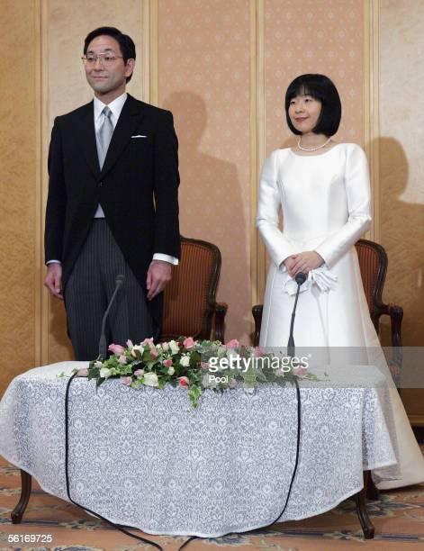 Sayako Kuroda and her Husband Yoshiyuki Kuroda attend a press conference following their wedding ceremony at a Tokyo hotel on November 15 2005 in...