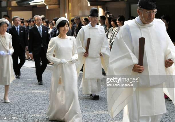 Sayako Kuroda daughter of Emperor Akihito and Empress Michiko visit Ise Jingu Shrine on September 14 2017 in Ise Mie Japan