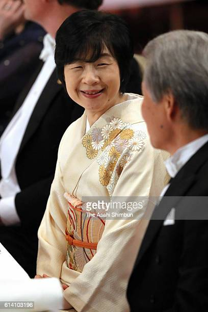 Sayako Kuroda daughter of Emperor Akihito attends the state dinner in honour of King Philippe and Queen Mathilde of Belgium at the Imperial Palace on...