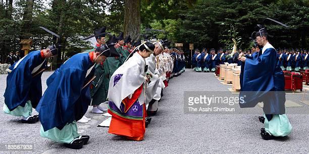 Sayako Kuroda the only daughter of Emperor Akihito participates in 'Kawara OHarai' ceremony to purify ahead of the geku 'Sengyo no Gi' as the...
