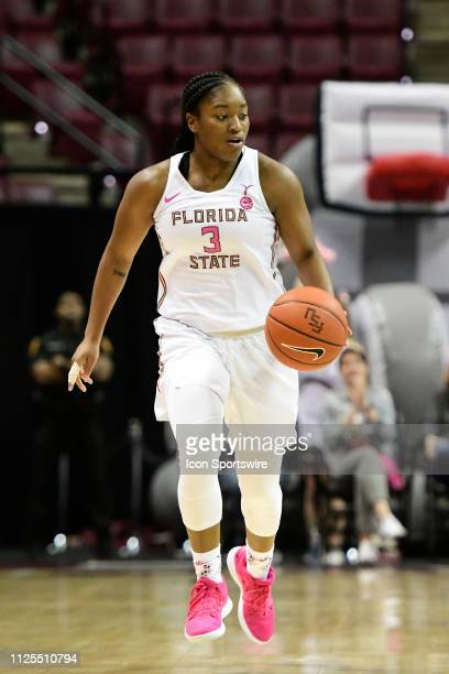 Sayawni Lassiter guard Florida State University Seminoles brings the basketball into the near court during an Atlantic Coast Conference match-up with...