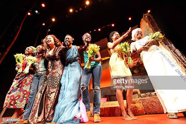 Saycon Sengbloh Zainab Jah Liesl Tommy Danai Gurira Lupita Nyong'o Pascale Armand and Akosua Busia appear onstage during the 'Eclipsed' Broadway...