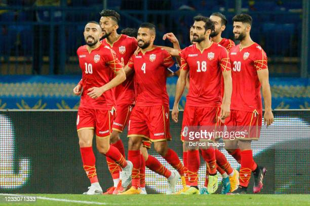 Sayed Dhiya Dhiya of Bahrain celebrates after scoring his team's first goal with teammates during the international friendly match between Ukraine...