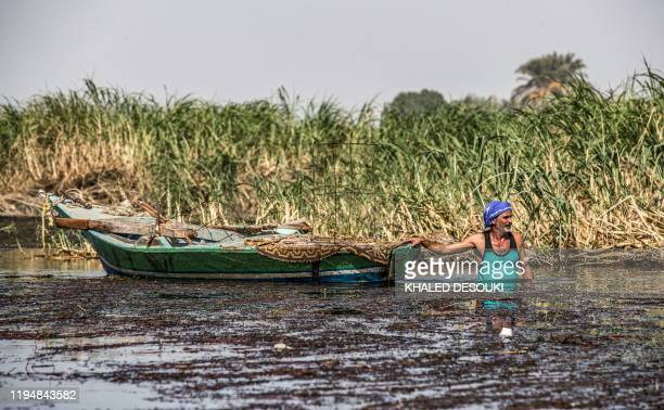 Sayed Tony, a 54-year-old Egyptian fisherman, swims by his boat while fishing in the Nile river in the village of Gabal al-Tayr north of Egypt's...