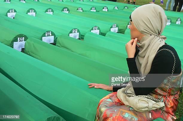 Saying good bye on Potocari graveyard. Memorial ceremony: 16th anniversary of Srebrenica massacre.