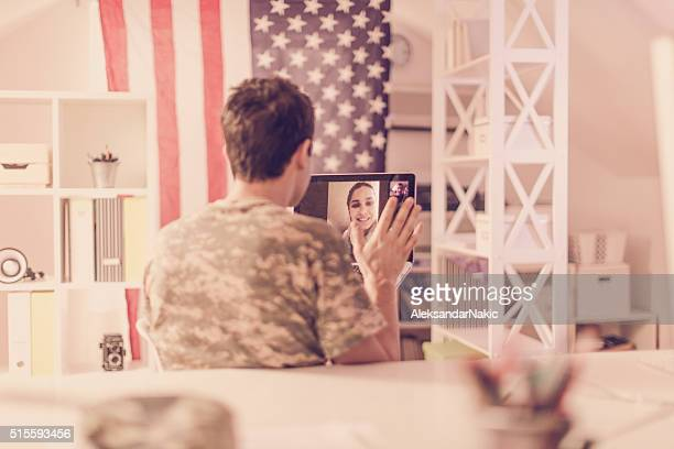 saying 'hi' to my family - military spouse stock pictures, royalty-free photos & images