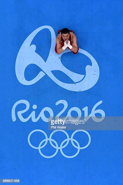 Saylom Ardee of Thailand celebrates his win over Simeon Chamov of Belarus in their Mens Welterweight bout on Day 6 of the 2016 Rio Olympics at...