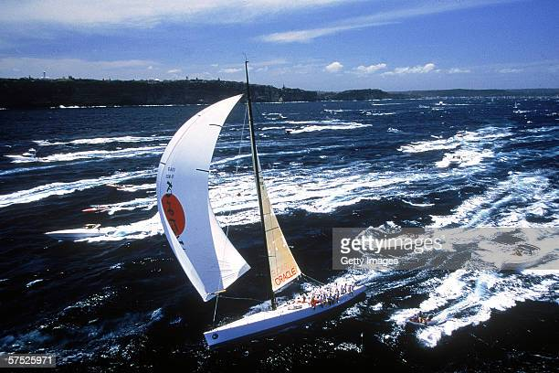 Sayonara competes at the start of the Sydney to Hobart yacht race December 26 1998 in Sydney Australia