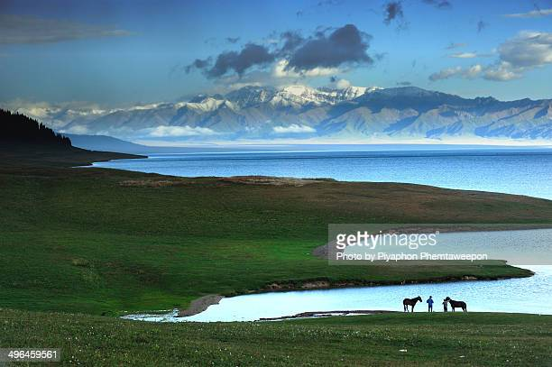 sayram lake - world record stock pictures, royalty-free photos & images