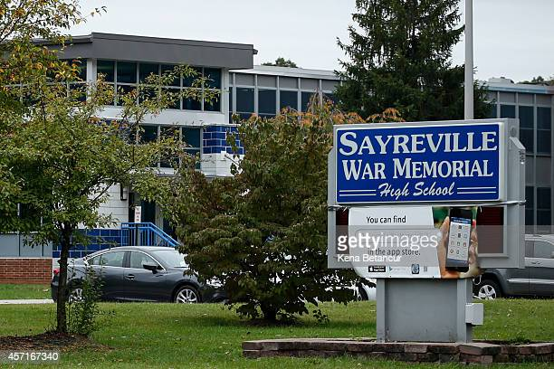 Sayreville War Memorial High School sign stands in front of the school on October 13 2014 in Parlin New Jersey The town has been rocked by...