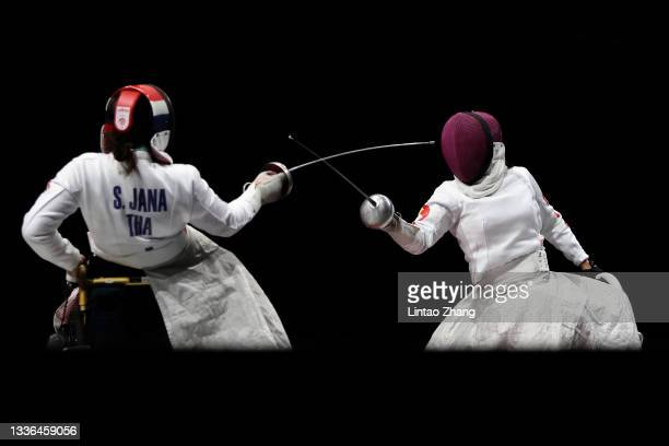 Saysunee Jana of Team Thailand competes Jingjing Zhou of Team China during the Women's Épée Individual Category B Bronze Medal Bout on day 2 of the...