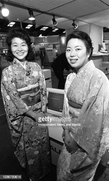 Sayuri Nakono and Noriko Wakiyama from Tokyo, Japan on the Technitron stand at the Computex exhibition at Simmonscourt RDS, . .