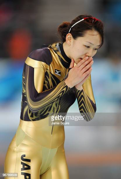 Sayuri Yoshii of Japan reacts after competing in the women's speed skating 500 m on day five of the Vancouver 2010 Winter Olympics at Richmond...