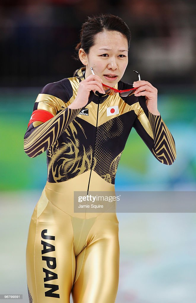 Sayuri Yoshii of Japan reacts after competing in the women's speed skating 500 m on day five of the Vancouver 2010 Winter Olympics at Richmond Olympic Oval on February 16, 2010 in Vancouver, Canada.