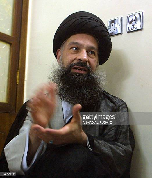 Sayyed Ali alWaadi alMusawi the representative in Baghdad for Shiite Grand Ayatollah Ali Sistani of Najaf speaks during an interview 03 September...