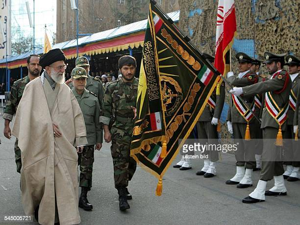 Sayyid Ali Khamenei Politician Spiritual Leader of the Islamic Republic of Iran Commander of the iranian armed forces during a military parade in...