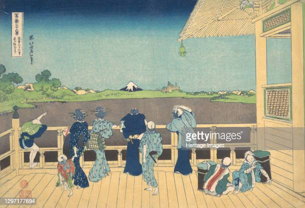 Sazai Hall at the Temple of the Five Hundred Arhats , from the series Thirty-six Views of Mount Fuji , circa 1830-32. Artist Hokusai.