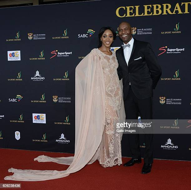 Sbahle Mpisane and Lucas Radebe during the SA Sports Awards on November 27 2016 in Bloemfontein South Africa The 2016 SA Sport Awards recognise...