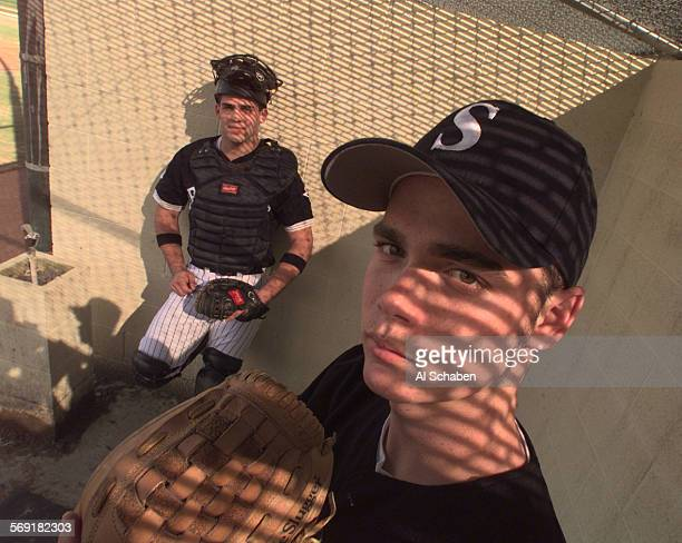 Sbaseballprepcover0225AS––ANAHEIM––Servite High School pitcher Brian Wolfe right and catcher Ryan Garko are the county's top battery heading into the...