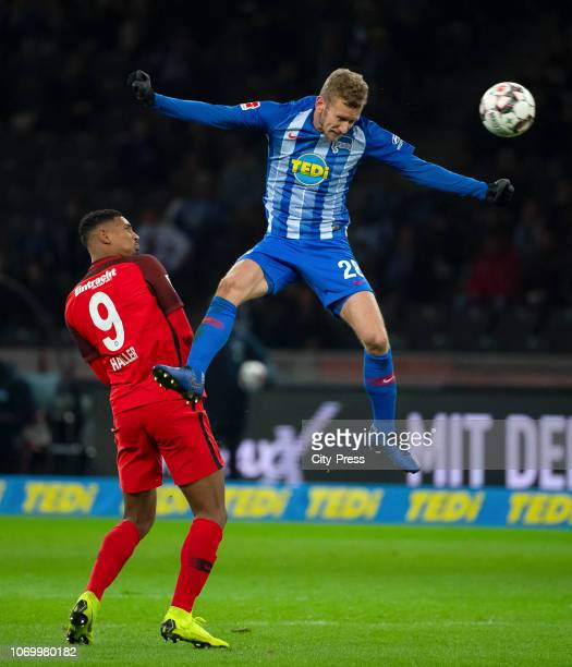 Sébastien Haller of Eintracht Frankfurt and Fabian Lustenberger of Hertha BSC during the game between Hertha BSC and Eintracht Frankfurt at the...