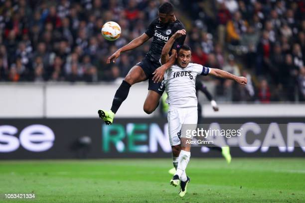 Sébastien Haller of Eintracht Frankfurt scores his sides second goal under pressure from Georgios Vasiliou of Apollon Limassol during the UEFA Europa...