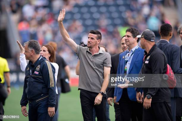 Sébastien Le Toux waves to the crowd after being inducted into the Ring of Honor during the game between Vancouver Whitecaps FC and the Philadelphia...