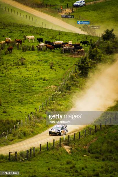 Sébastien Ogier and codriver Julien Ingrassia of MSport cross a creek during the Pilbara Stage on day two of the Rally Australia round of the 2017...