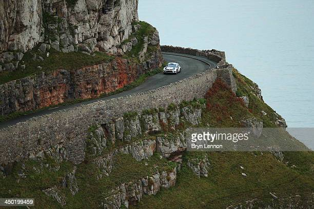 Sébastien Ogier and Julien Ingrassia of France and Volkswagen Motorsport in action on the Great Orme Stage of the FIA World Rally Championship Great...