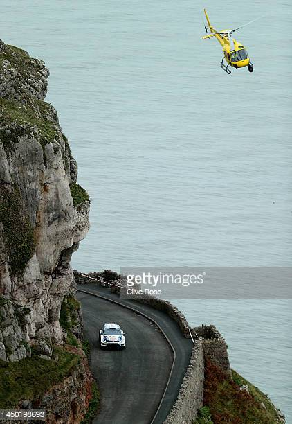Sébastien Ogier and Julien Ingrassia of France and Volkswagen Motorsport in action during the Great Orme stage of the FIA World Rally Championship...