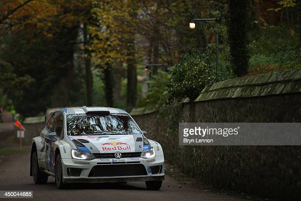 Sébastien Ogier and Julien Ingrassia of France drive their Volkswagen Polo R WRC on the Chirk Castle Stage of the FIA World Rally Championship Great...